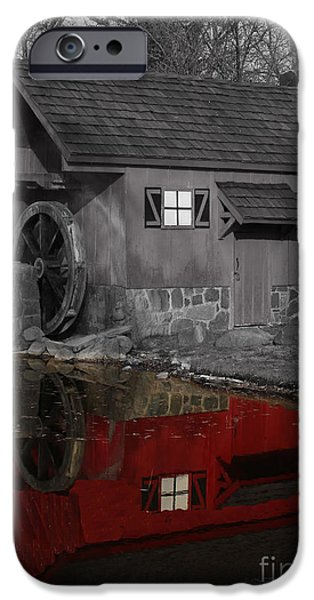 Architectur iPhone Cases - Reflection of Red Mill iPhone Case by Bill Woodstock
