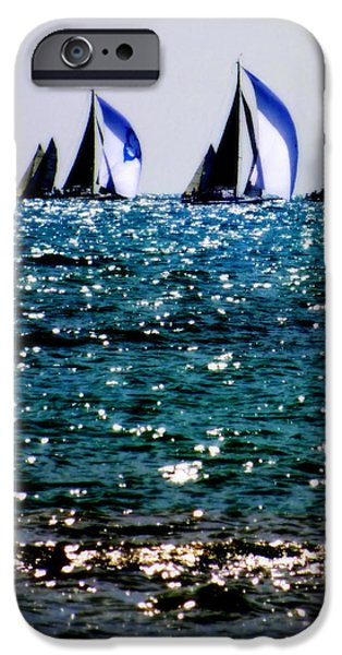 Racing iPhone Cases - Reflection Of Sails iPhone Case by Karen Wiles