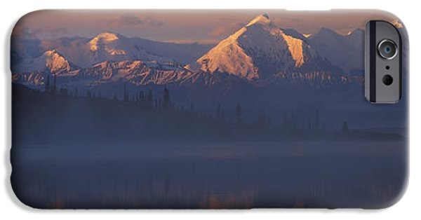 Snow Scene iPhone Cases - Reflection Of Snow Covered Mountain iPhone Case by Panoramic Images