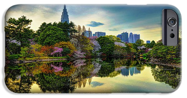 Shinjuku iPhone Cases - Reflection of Spring iPhone Case by Midori Chan