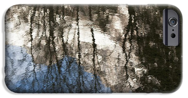 Rhone Alpes iPhone Cases - Reflection Of Trees And A Mountain Peak iPhone Case by Keith Levit