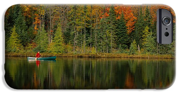 Canoe iPhone Cases - Reflection Of Trees In Water iPhone Case by Panoramic Images
