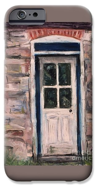 Old Barns Pastels iPhone Cases - Reflection on Old Door iPhone Case by Laura Sullivan