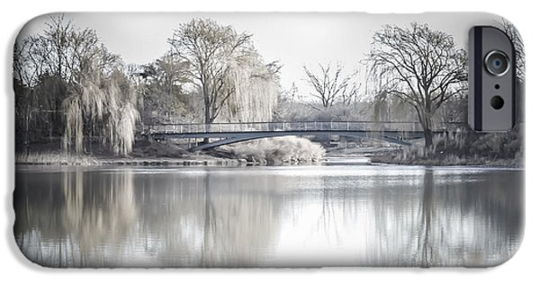 Willow Lake iPhone Cases - Reflection Over Lake Winter Scene iPhone Case by Julie Palencia