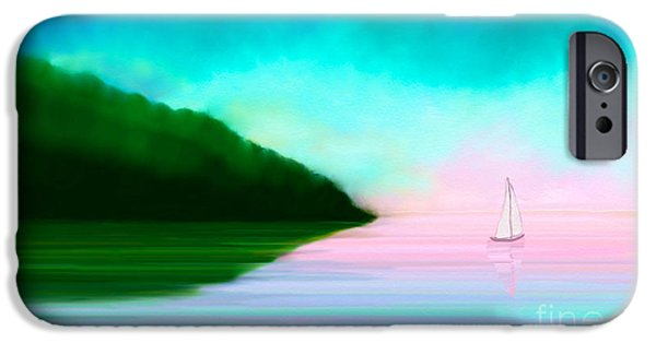 Abstract Digital Paintings iPhone Cases - Reflections iPhone Case by Anita Lewis