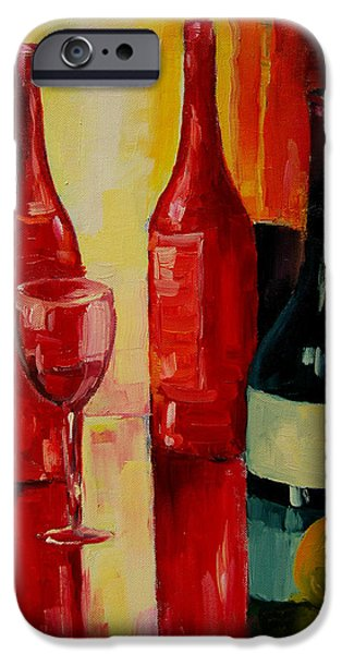Table Wine iPhone Cases - Reflections iPhone Case by Mona Edulesco