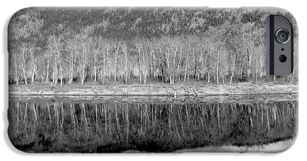 Reflections In River iPhone Cases - Reflections In Black And White iPhone Case by Will Borden
