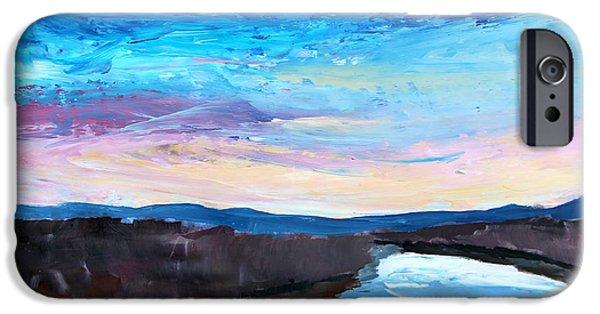 River Jordan Paintings iPhone Cases - Reflections in River Jordan Israel iPhone Case by M Bleichner
