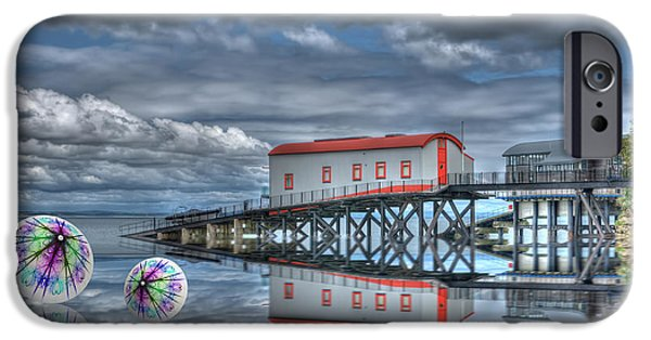 Shape iPhone Cases - Reflections Lifeboat Houses and Smoke Cones iPhone Case by Steve Purnell