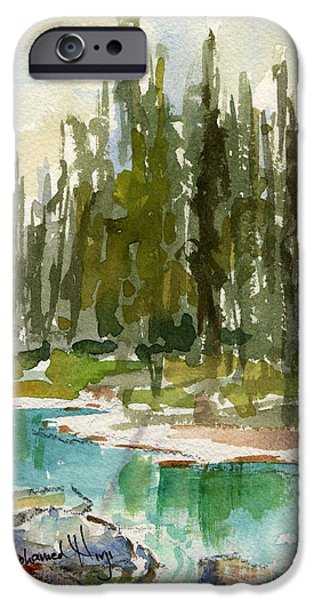 Park Scene Paintings iPhone Cases - Reflections iPhone Case by Mohamed Hirji