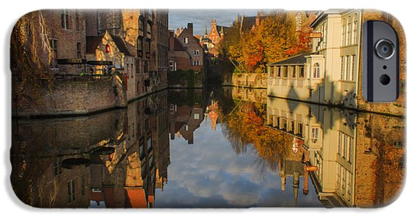 Belgium iPhone Cases - Reflections of Bruges iPhone Case by Chris Fletcher