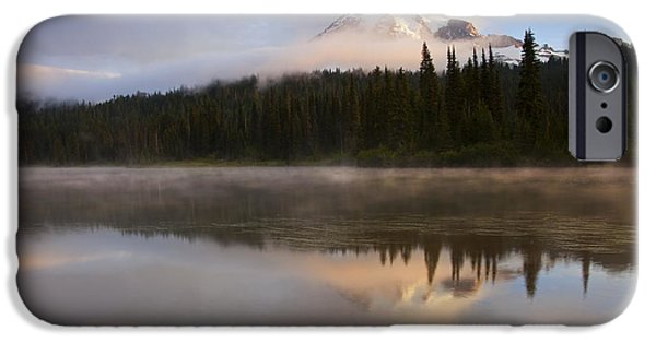 Mt Rainier iPhone Cases - Reflections of Majesty iPhone Case by Mike  Dawson