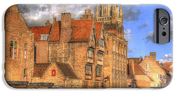 Belgium iPhone Cases - Reflections of Medieval Buildings iPhone Case by Juli Scalzi