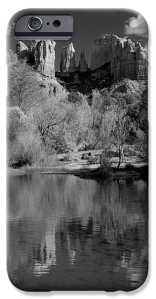 Reflections of Sedona Black and White iPhone Case by Joshua House