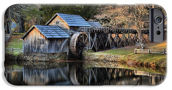 Grist Mill iPhone Cases - Reflections Of The Mabry Grist Mill iPhone Case by Adam Jewell