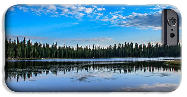 Haybale iPhone Cases - Reflections On Anthony Lake iPhone Case by Robert Bales