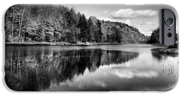 Fall Scenes iPhone Cases - Reflections on Bald Mountain Pond iPhone Case by David Patterson