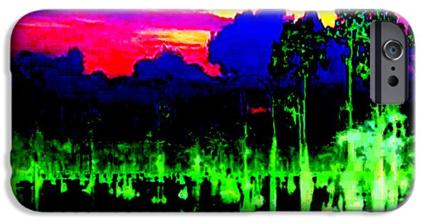 Electronic iPhone Cases - Reflections on Lake artistic re processing of nature photography called digital painting mixed media iPhone Case by Navin Joshi