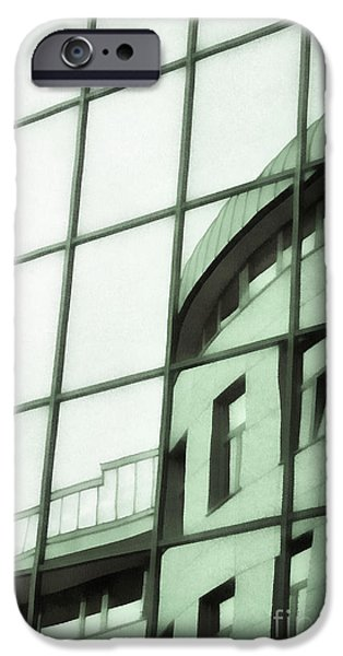 Technical Paintings iPhone Cases - Reflections on the building iPhone Case by Odon Czintos