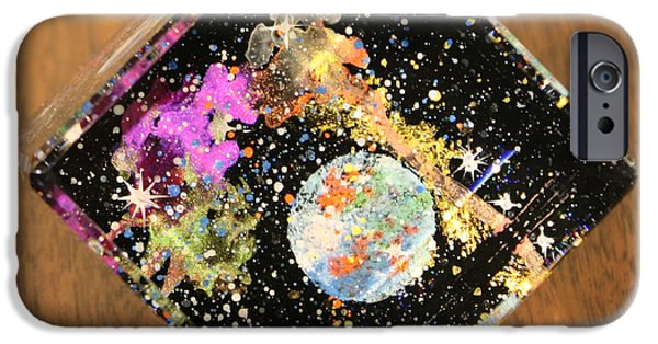 Outer Space Glass Art iPhone Cases - Reflections iPhone Case by Wolfgang Finger