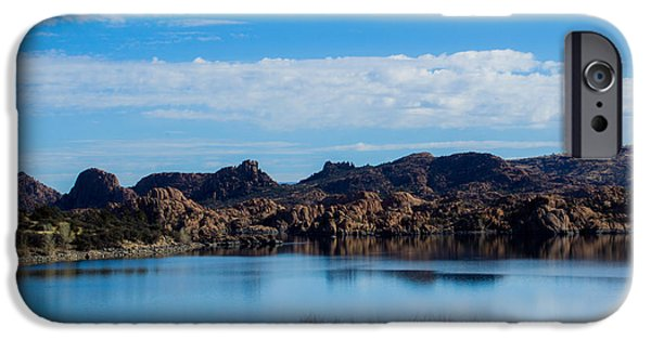 Watson Lake iPhone Cases - Reflective Blue Skies iPhone Case by Phyllis Bradd