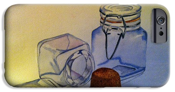 Water Jars Paintings iPhone Cases - Reflective Still Life Jars iPhone Case by Brenda Brown