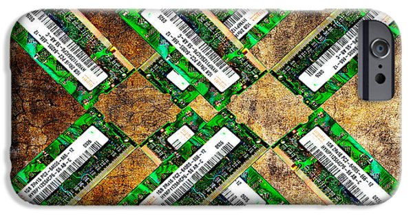 Hardware Mixed Media iPhone Cases - Refresh My Memory - Computer Memory Cards - Electronics - Abstract iPhone Case by Andee Design