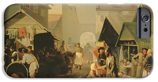 Barber iPhone Cases - Refreshment Stall In St. Petersburg, 1858 Oil On Canvas iPhone Case by Adrian Markovich Volkov