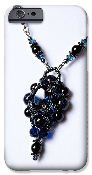 Handcrafted Jewelry iPhone Cases - Regal Sapphire Pendant Necklace and Matching Earrings Set iPhone Case by WDM Gallery