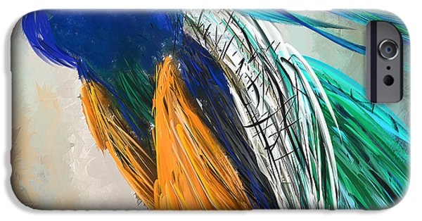 Peacock iPhone Cases - Regal Vibrancy- Peacock Paintings iPhone Case by Lourry Legarde