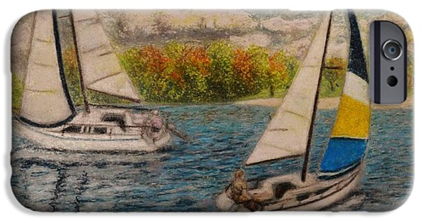 Sailboats Pastels iPhone Cases - Regatta 1 iPhone Case by Andrew Pierce