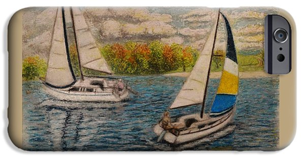 Racing Pastels iPhone Cases - Regatta 1 iPhone Case by Andrew Pierce