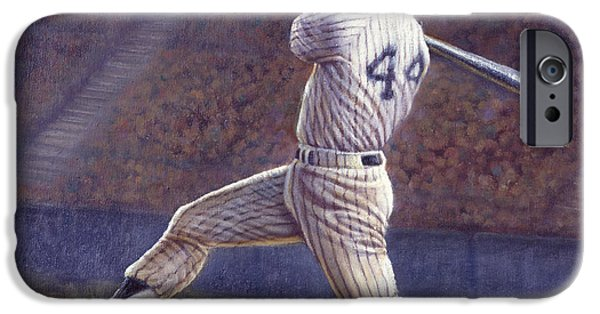 Pinstripes iPhone Cases - Reggie Jackson iPhone Case by Gregory Perillo
