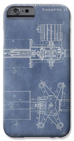 Electric Drawings iPhone Cases - Regulator For Dynamo Electric Machine Patent iPhone Case by Dan Sproul