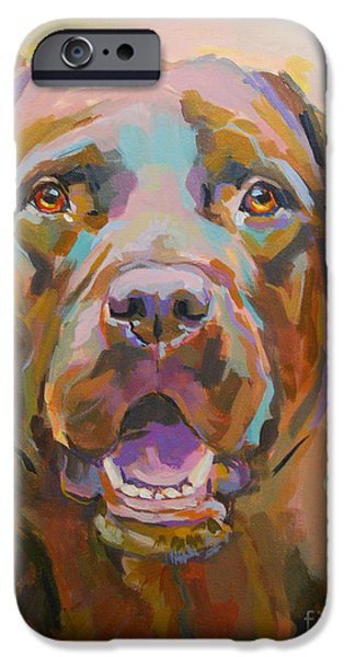 Chocolate Labrador Retriever Paintings iPhone Cases - Reilly iPhone Case by Kimberly Santini