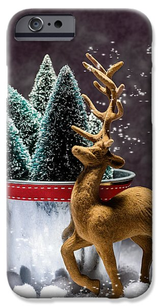 Snowball iPhone Cases - Reindeer At Christmas iPhone Case by Amanda And Christopher Elwell