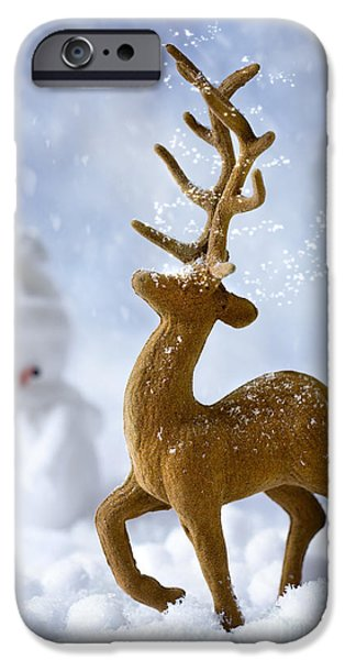 Snow Scene iPhone Cases - Reindeer In Snow iPhone Case by Amanda And Christopher Elwell