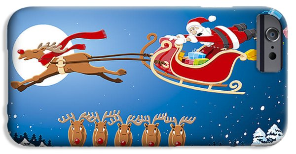 Santa iPhone Cases - Reindeer Santa Sleigh Christmas Stunt Show iPhone Case by Frank Ramspott
