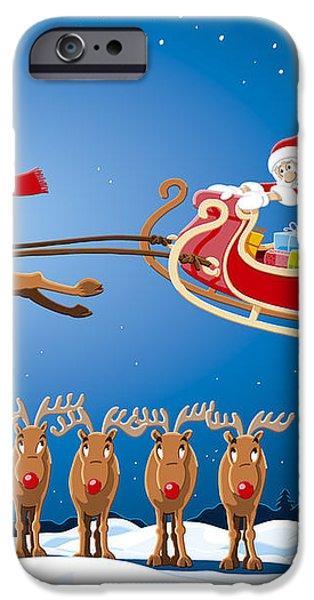 Reindeer Santa Sleigh Christmas Stunt Show iPhone Case by Frank Ramspott