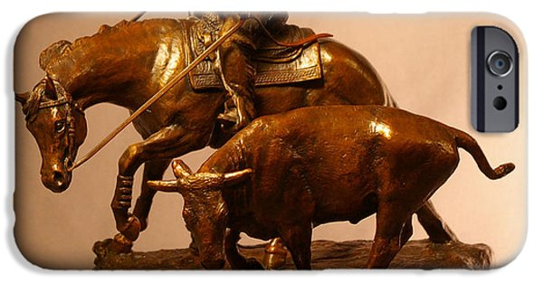 Horse Sculptures iPhone Cases - Reined Cowhorse bronze iPhone Case by Kim Corpany