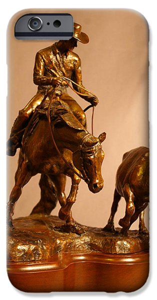 Horse Sculptures iPhone Cases - Reining Cow Horse bronze sculpture iPhone Case by Kim Corpany