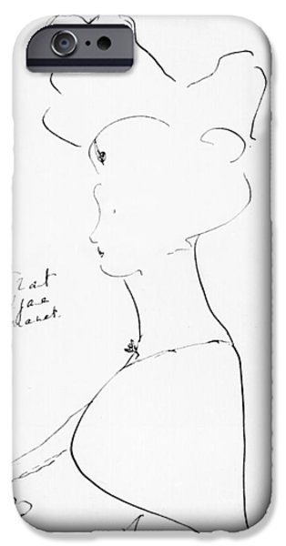 Female Drawings iPhone Cases - Rejane iPhone Case by Marcel Proust