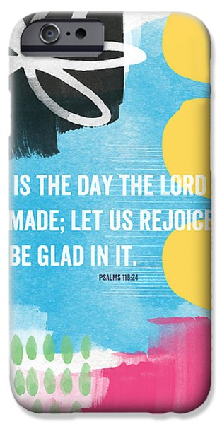 Scripture iPhone Cases - Rejoice and Be Glad- contemporary scripture art iPhone Case by Linda Woods