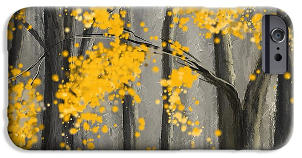 Yellow And Grey Abstract Art iPhone Cases - Rejuvenating Elements- Yellow And Gray Art iPhone Case by Lourry Legarde