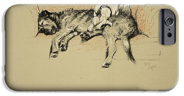 Black Dog iPhone Cases - Relaxation, 1930, 1st Edition iPhone Case by Cecil Charles Windsor Aldin