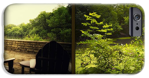 Nature Center Pond iPhone Cases - Relaxing By The River Bridge Fullersburg Woods 2 Panel iPhone Case by Thomas Woolworth