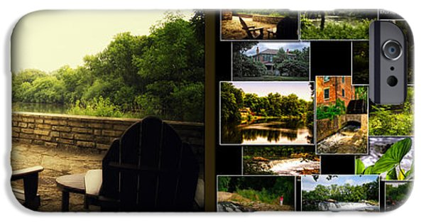 Nature Center Pond iPhone Cases - Relaxing By The River Collage Fullersburg Woods 2 Panel iPhone Case by Thomas Woolworth