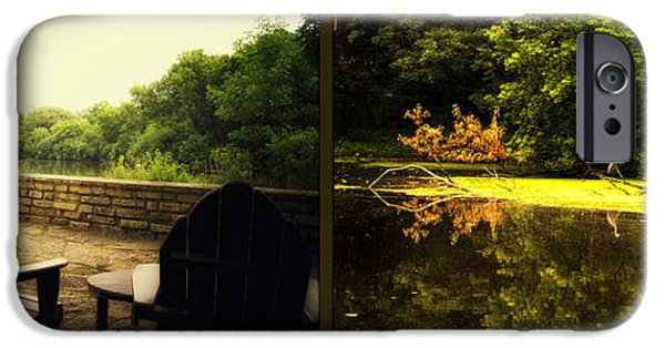 Nature Center Pond iPhone Cases - Relaxing By The River Looking For Breakfast Fullersburg Woods 2 Panel iPhone Case by Thomas Woolworth