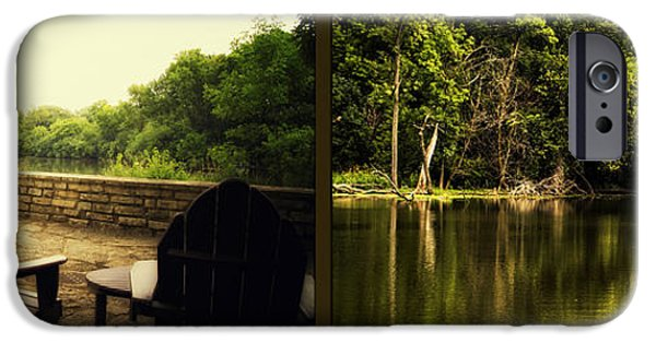 Nature Center Pond iPhone Cases - Relaxing By The River Salt Creek In August Fullersburg Woods 2 Panel iPhone Case by Thomas Woolworth