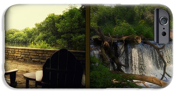 Nature Center Pond iPhone Cases - Relaxing By The River Teeter Totter Log Fullersburg Woods 2 Panel iPhone Case by Thomas Woolworth